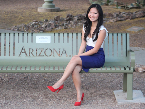 Jenny in Jacquard; fashion blog; Arizona style blogger; University of Arizona; graduation photos; law school; Forever 21 white cream lace top; Zara navy blue pencil skirt; Pour la Victoire red suede Daina pump high heel shoe