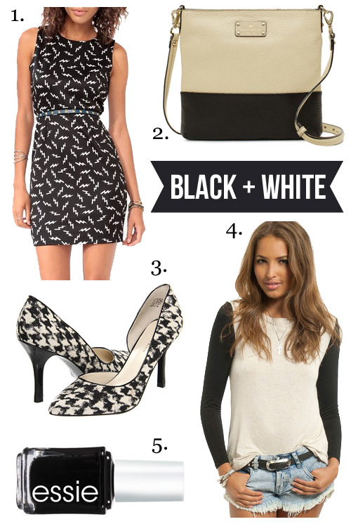 Jenny in Jacquard; NYC fashion blogger; style blog; shopping roundup; Forever 21 Electric Lightning Dress; Kate Spade Grove Cort Cora black and cream color block crossbody bag; Anne Klein black and white houndstooth pump; Essie Licorice black nail polish; Tobi Not So Basic Shirt