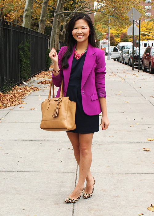 Jenny in Jacquard; NYC fashion blogger; style blog; outfit photos; Forever 21 navy work dress; Forever 21 purple blazer; David Aubrey pink and gray necklace; Coach Candace carryall tote; DVF April leopard pumps; Juicy Couture maroon bracelet