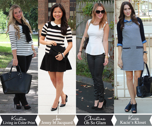 Jenny in Jacquard; NYC fashion blogger; style blog; collaboration; four ways to wear black and white; Kristin Clark of Living in Color Print; Christina DeFilippo of Oh So Glam; Kacie of Kacie's Kloset