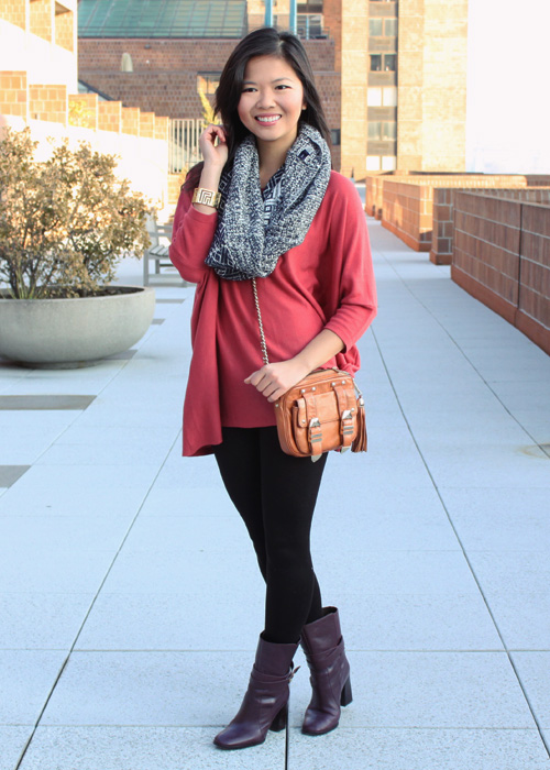 Jenny in Jacquard; NYC fashion blogger; style blog; outfit photos; H&M oversized coral sweater; Gap navy chunky infinity scarf; Uniqlo HeatTech black leggings; DVF Diane von Furstenberg Yardley boots in bordeux, Rebecca Minkoff BF crossbody bag in cognac; CC Skye Maize gold bracelet