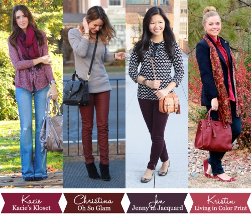 Jenny in Jacquard; NYC fashion blogger; style  blog; outfit photos; how to wear oxblood; Kacie of Kacie's Kloset; Kristin Clark of Living in Color Print; Christina DeFillipio of Oh So Glam Blog