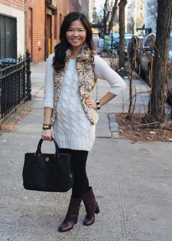Jenny in Jacquard; NYC fashion blogger; style blog; outfit photo; winter cold weather outfit; Zara Kids Girls XL cheetah faux fur vest; Zara cable knit sweater dress; Forever 21 black leggings; C.Wonder skinny calf hair bangles; Juicy Couture pave pyramid bracelet; Tory Burch black Robinson tote bag; Diane von Furstenberg DVF Yardley maroon oxblood heel