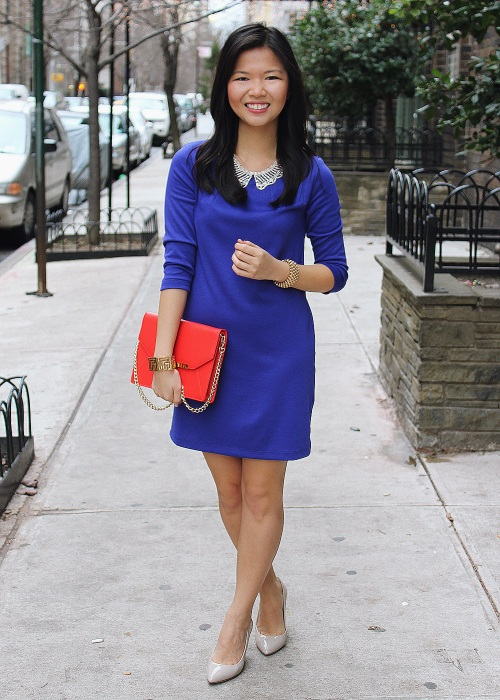 Jenny in Jacquard; NYC fashion blogger; style blog; outfit photos; H&M royal blue shift dress; JewelMint gold collar necklace; C.Wonder Saffiano leather turn-lock clutch; CC Skye maize gold geometric cuff; Banana Republic gold bracelet; Pour la Victoire Mai wedge
