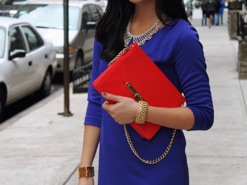 Jenny in Jacquard; NYC fashion blogger; style blog; outfit photos; H&M royal blue shift dress; JewelMint gold collar necklace; C.Wonder Saffiano leather turn-lock clutch; CC Skye maize gold geometric cuff; Banana Republic gold bracelet; Pour la Victoire Mai wedge