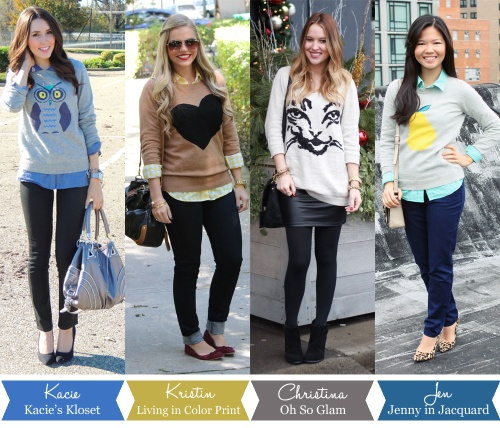 Jenny in Jacquard; NYC fashion blogger; style blog; outfit photos; Kacie of Kacie's Kloset, Kristin Clark of Living in Color Print; Christina DeFillipo of Oh So Glam; how to wear a graphic sweater