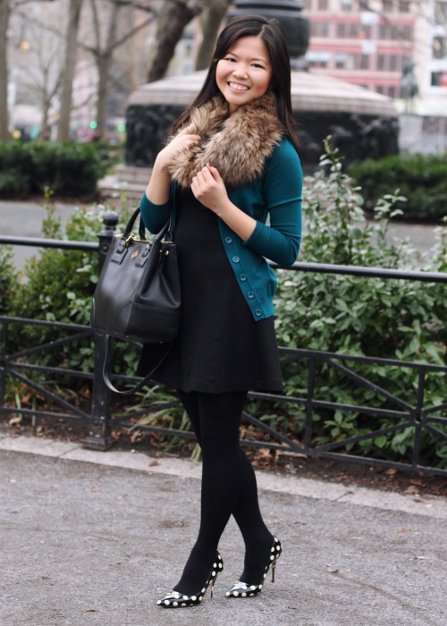 Jenny in Jacquard; NYC fashion blogger; style blog; outfit photo; Zara black a-line dress; Forever 21 teal cardigan; Ann Taylor Loft faux fur snood; Sequin NYC black geometric necklace; H&M black tights; Kate Spade New York Licorice black and white polka dot pumps; Tory Burch Robinson black tote bag