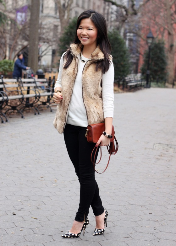 Jenny in Jacquard; NYC fashion blogger; style blog; outfit photo; Zara Kids girl's faux fur vest; C. Wonder creme crew neck sweater; Zara black skinny legging jeans with zip; Sequin necklace; C. Wonder calf hair skinny bangle; Juicy Couture stretch pyramid pave bracelet; Coach Legacy Penny cross body bag in cognac; Kate Spade New York Licorice polka dot pumps