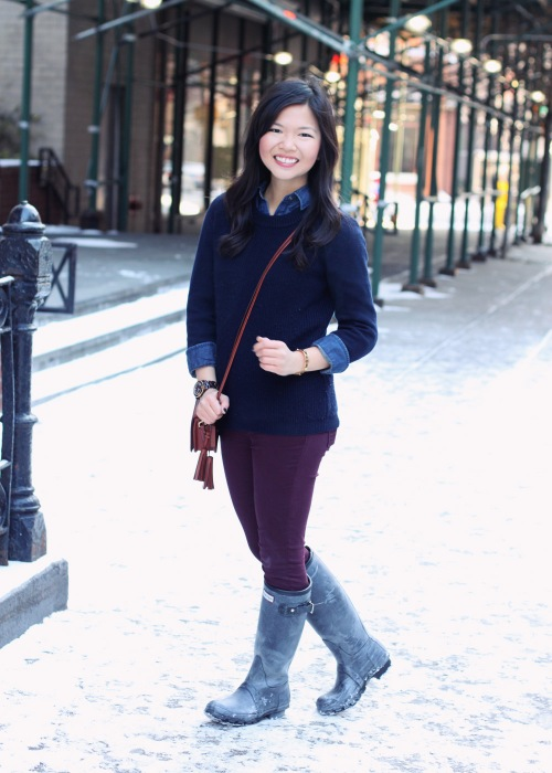 Jenny in Jacquard; NYC fashion blogger; style blog; outfit photo; winter; cold weather; snow; Banana Republic chambray shirt; J.Crew navy sweater; Zara oxblood skinny jeans; Michael Kors tortoise gold boyfriend watch; Coach Legacy Penny crossbody bag in cognac; Hunter shearling line tall black rain boots; C. Wonder leopard calf hair skinny bangle