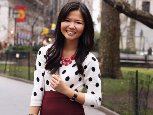 Jenny in Jacquard; NYC fashion blogger; style blogger; outfit photos; Old Navy black and white polka dot sweater; Zara oxblood maroon pencil skirt; David Aubrey pink and gray statement necklace; Juicy Couture pave black pyramid stretch bracelet; C. Wonder black skinny calf hair bangle; Tory Burch Robinson black satchel tote; Kate Spade Licorice Polka Dot Patent Pumps