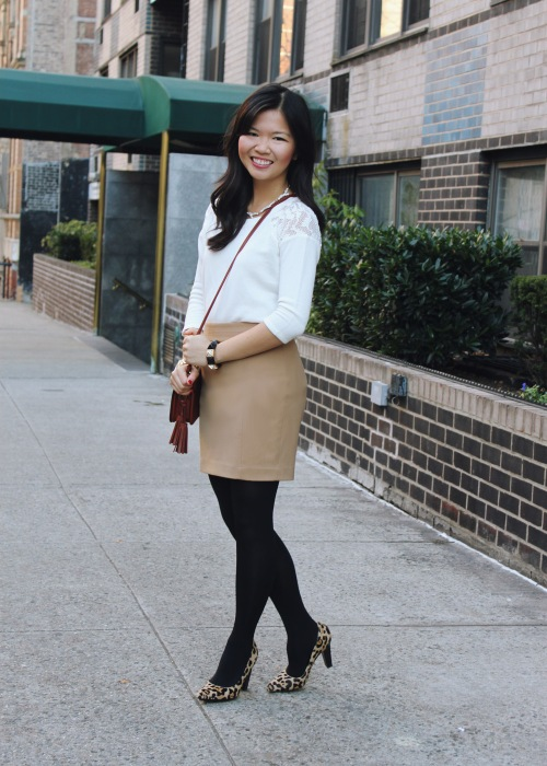 Jenny in Jacquard; NYC fashion blogger; style blog; outfit photo; winter neutrals; Zara sweater with lace shoulder details; Express camel tan mini-skirt; Uniqlo HeatTech tights; Coach Legacy Penny crossybody bag in cognac; Diane von Furstenberg DVF April pumps in leopard; Juicy Couture black pave pyramid stretch bracelet; Michael Kors gold mother of pearl boyfriend watch