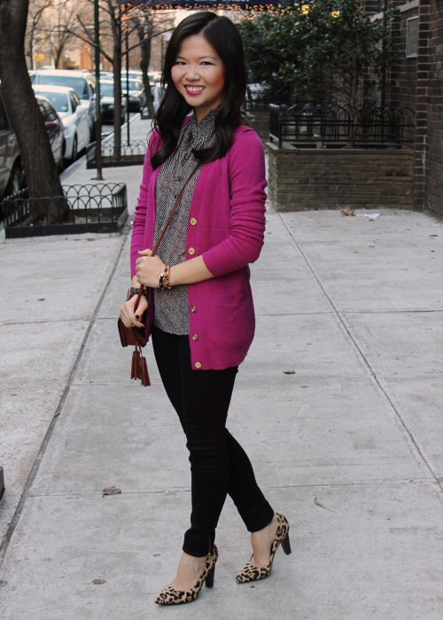 Jenny in Jacquard; NYC fashion blogger; style blog; outfit photo; C.Wonder Classic Mid-Length Cardigan; J.Crew sleeveless print top; Forever 21 black leggings; DVF Diane von Furstenberg April leopard heels; Coach Legacy Penny shoulder purse in brass/cognac; Michael Kors tortoise gold boyfriend watch; C.Wonder skinny calf hair bangle