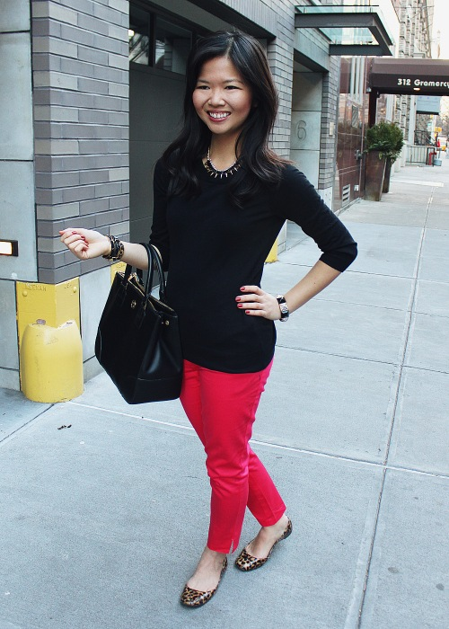 Jenny in Jacquard; NYC fashion blogger; style blog; outfit photo; J.Crew Factory Charley black sweater; H&M hot pink pants; Crown and Glitter Black Crown Necklace; C. Wonder skinny calf hair bangles; Juicy Couture black and pave pyramid stretch bracelet; Tory Burch Robinson black leather tote; Steve Madden Starz leopard flat