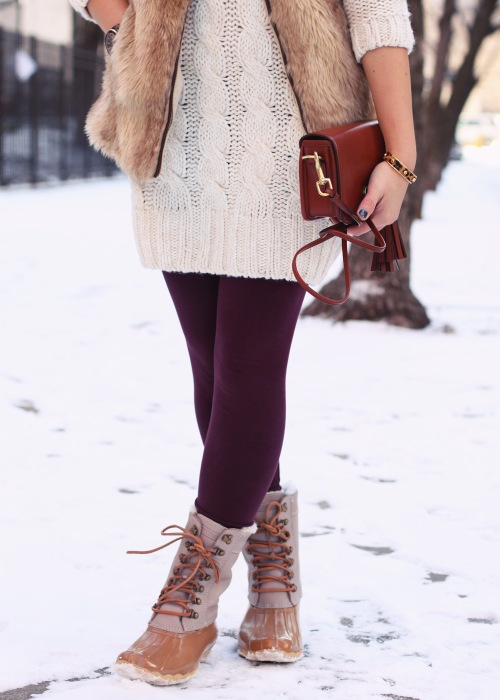 Jenny in Jacquard; NYC fashion blogger; style blog; outfit photo; winter outfit; Zara cream sweater knit dress; Zara Girl faux fur vest; Forever 21 maroon oxblood leggings; Sperry Top-Sider x J.Crew Shearwater snow boots; Coach Legacy Penny crossbody bag in cognac; Michael Kors tortoise gold boyfriend watch; Sequin heart necklace