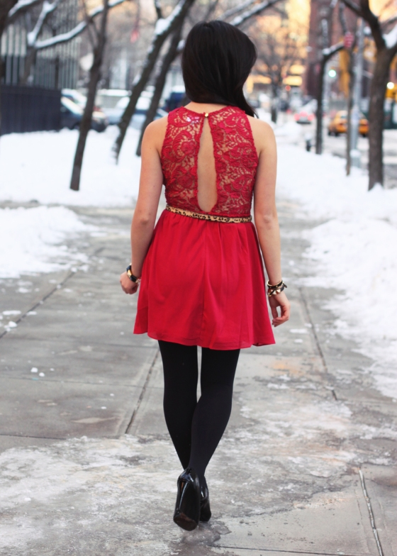 Skirt The Rules; NYC fashion blogger; style blog; Valentine's Day's 2013 outfit; Tobi Celia red lace dress; Uniqlo HeatTech black tights; Nordstrom Rack leopard print skinny belt; Juicy Couture black pave pyramid stretch bracelet; Sequin geo black and gold necklace; C. Wonder black calf hair skinny cuff