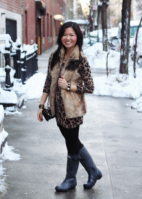 Skirt the Rules; NYC fashion blogger; style blog; winter outfit photos; Banana Republic black wool coat; Zara Girls faux fur vest; Old Navy leopard sweater dress; Uniqlo HeatTech leggings; Hunter shearling lined rain boots; Sequin geometric necklace; C. Wonder skinny cuffs; Juicy Couture pave pyramid bracelet; DVF black crossbody bag