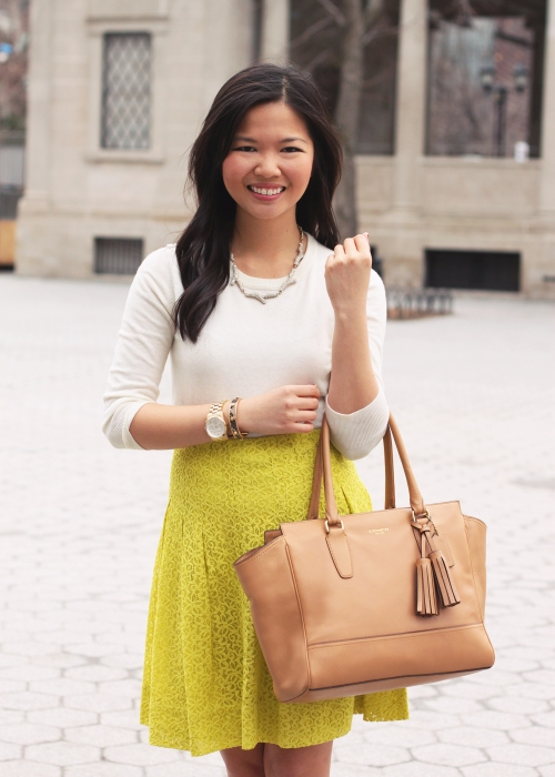 Skirt The Rules Blog; NYC fashion blogger; style blogger; spring outfit photo; C. Wonder cream sweater; Anthropologie neon green lace skirt; Sequin pave branch necklace; Coach Candace carryall tote in camel; DVF leopard April heel; Michael Kors mother of pearl gold boyfriend watch