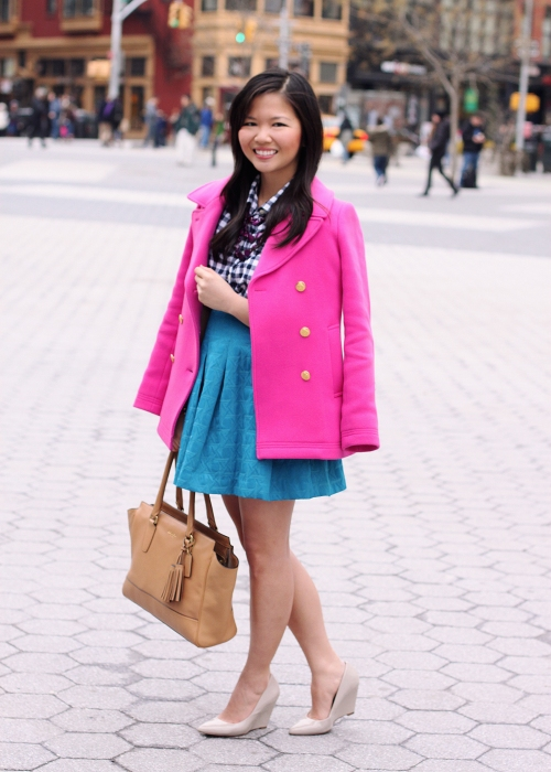 Skirt The Rules; NYC fashion blogger; style blog; how to transition from winter to spring; J.Crew hot pink majesty stadium cloth coat; J.Crew Factory navy gingham button up shirt; Kirna Zabete for Target turquoise jacquard skirt; Coach Candace carryall tote in camel; New York & Co. purple stone necklace; C. Wonder snake skinny cuff; Pour La Victoire Mai wedge