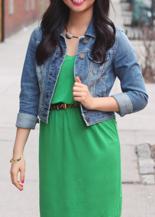 Skirt The Rules Blog; NYC fashion blogger; style blog; spring outfit photos; St. Patrick's Day green outfit; American Eagle denim jacket; Gap green dress; BaubleBar geometric bronze necklace; C. Wonder snakeskin skinny bangle; Pour La Victoire Mai patent wedge; C. Wonder leopard skinny belt