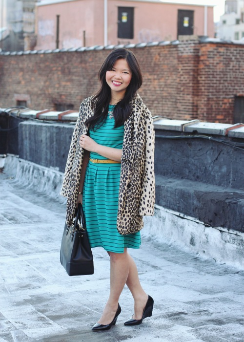 Skirt The Rules Blog; NYC fashion blogger; style blog; spring outfit photo; ASOS leopard coat; Target turquoise black striped dress; JewelMint crystal gold collar necklace; H&M yellow skinny belt; Tory Burch Robinson black tote; C. Wonder skinny initial cuff; Pour La Victoire black wedge pumps