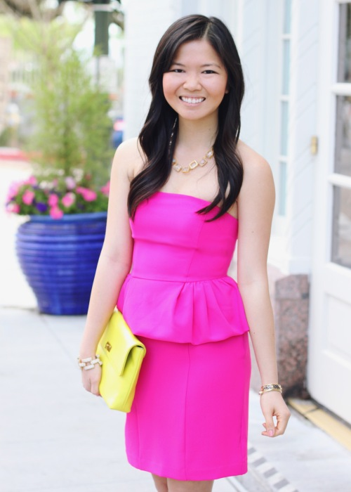 Skirt The Rules Blog; NYC Fashion Blogger; Style Blog; spring outfit photos; Express hot pink peplum dress; J.Crew Factory neon yellow clutch; C. Wonder crystal necklace; J.Crew square pave link bracelet; BaubleBar arrow cuff; C. Wonder snakeskin skinny cuff; Pour La Victoire Mai wedge pumps in nude