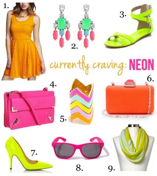 Skirt The Rules Blog; NYC fashion blogger; style blog; neon shopping ideas; Express neon lace skater dress in tangerine; J.Crew color collage earrings; Rebecca Minkoff Bettina neon flat sandals; Rebecca Minkoff metal corner clutch; Atlantic-Pacific x BaubleBar chevron ring stack; Overture Judith Leiber Jamie neon colorblock clutch; Kate Spade Licorice neon yellow pumps; Forever 21 neon pink wayfarer sunglasses; Gap bright cowlneck scarf