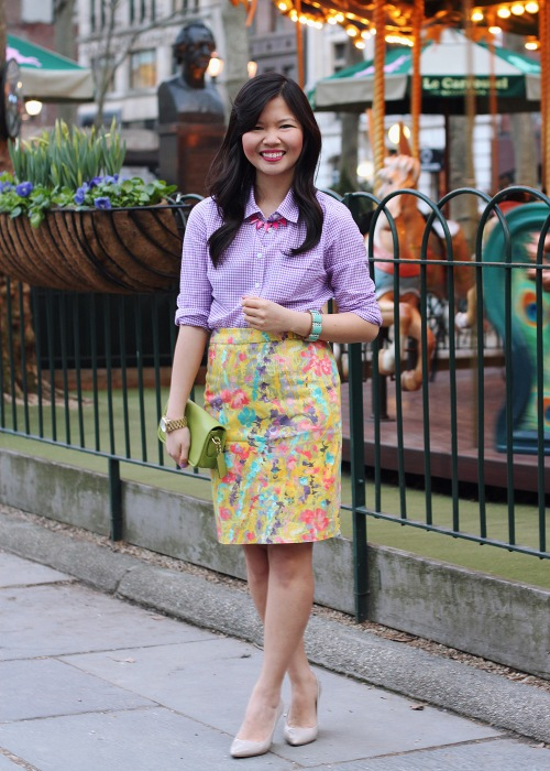Skirt The Rules Blog; NYC fashion blogger; style blog; spring outfit photo; J.Crew Factory purple gingham shirt; J.Crew Factory floral pencil skirt; BaubleBar pink tab necklace; J.Crew turquoise stretch bracelet; Michael Kors gold and mother of pearl boyfriend watch; Coach Legacy Penny bag in lime; Pour La Victoire Mai patent wedge pump