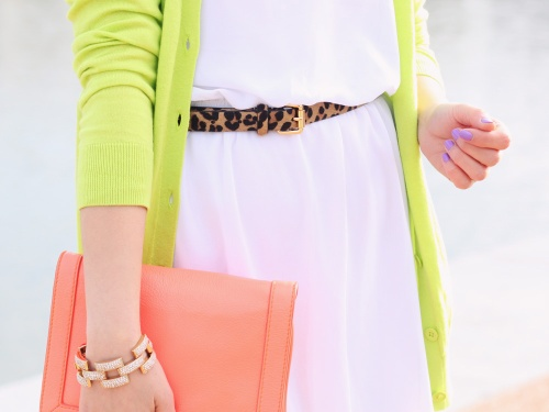 Skirt The Rules Blog; NYC fashion blogger; style blog; spring outfit photo; Tobi white square one spring dress; Gap luxlight vneck cardigan in neon green thumb; BaubleBar pink tab necklace; C. Wonder leopard calf hair belt; J.Crew pave square link bracelet; J.Crew neon rose crossbody bag worn as clutch; Sam Edelman wedges