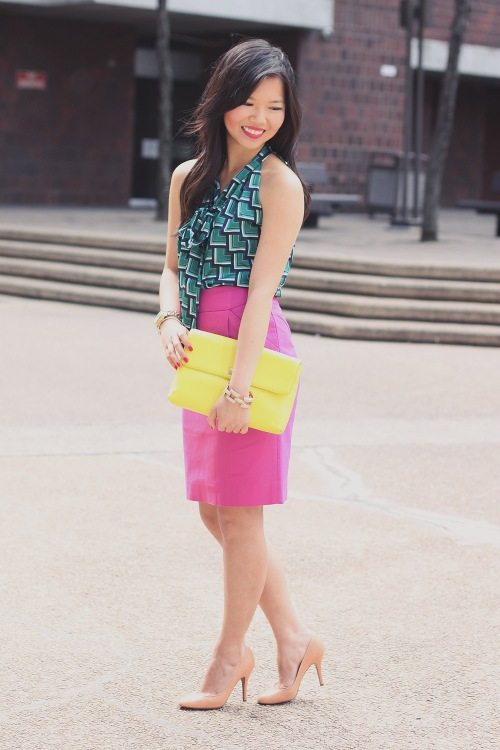 Skirt The Rules Blog; NYC fashion blogger; style blog; spring outfit photos; Banana Republic Factory turquoise print bow blouse; J.Crew Factory Pencil Skirt in Double Serge Cotton; J.Crew Pave Square Link Bracelet; Michael Kors gold mother of pearl boyfriend watch; J.Crew Factory Vero Clutch in neon yellow; Pour La Victoire Mai wedge pump