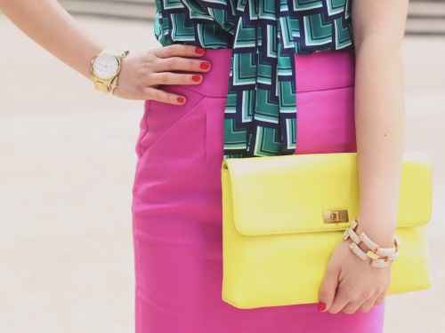 Skirt The Rules Blog; NYC fashion blogger; style blog; spring outfit photos; Banana Republic Factory turquoise print bow blouse; J.Crew Factory Pencil Skirt in Double Serge Cotton; J.Crew Pave Square Link Bracelet; Michael Kors gold mother of pearl boyfriend watch; J.Crew Factory Vero Clutch in neon yellow; J.Crew Mona nude pump