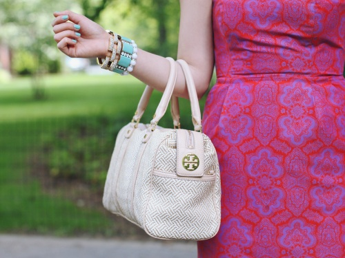 Skirt The Rules Blog; NYC fashion blogger; style blog; summer outfit photos; J.Crew pink paisley dress; Tory Burch straw satchel; Rosegold beige leather cutout heels; CC Skye Maize geometric gold bracelet; J.Crew turquoise stretch bracelet; A Beautiful Heart white bubblegum bracelet; J.Crew pave square link bracelet