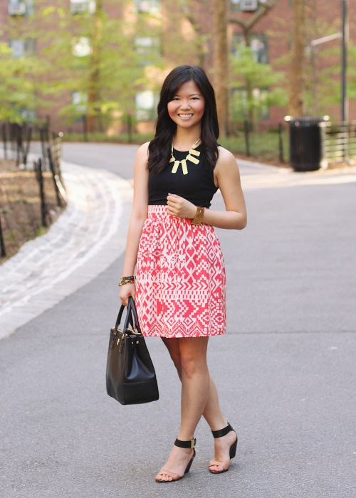 Skirt The Rules Blog; NYC fashion blogger; style blog; spring outfit photo; Topshop sleeveless top; tribal print skirt; rectangular yellow necklace; Juicy Couture pave bracelet; Essie cobalt blue Butler Please nail polish; Tory Burch Robinson satchel tote; CC Skye geometric gold bracelet; Sam Edelman black and brown colorblock wedge