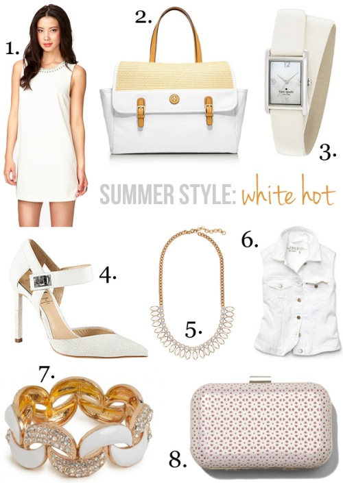 Skirt The Rules Blog; NYC fashion blogger; style blog; summer shopping collage; white hot summer trend; Forever 21 white bejeweled sheath dress; Tory Burch Pierson Beach Tote; Kate Spade New York Cooper Wrap Strap Watch; Preen x Aldo Rise MUSILOVA white strappy pump; J.Crew sunflower white stone necklace; Gap 1969 white denim vest; BaubleBar Pave Crescent bracelet; Express white perforated hard case clutch