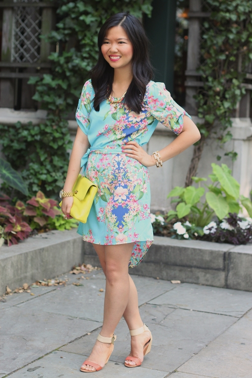 Skirt The Rules Blog; NYC fashion blogger; style blog; summer outfit photo; Hello Glam Garden Party floral dress; Courtney Kerr x BaubleBar Cerise Arrowhead Collar Necklace; J.Crew Factory Vero Neon Yellow Clutch; J.Crew pave square link bracelet; Brighthouse Bauble gold bow ring; Sam Edelman Sophie coral cream colorblock wedge; Michael Kors gold BF watch