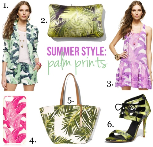 Skirt The Rules Blog; NYC fashion blogger; style blog; summer shopping collage; summer trends; palm prints; Juicy Couture Palmetto palm print blazer and shorts; Express palm print hard case clutch; Juicy Couture Palmetto pink palm print tank dress; Juicy Couture pink palm leaf iPhone 5 case; Vince Camuto Coco palm print tote