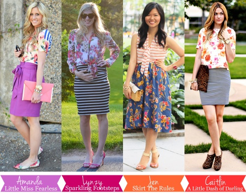 Skirt The Rules Blog; NYC Fashion Blogger; style blog; summer outfit photos; four ways to wear florals and stripes; how to mix prints; Amanda Sanchez of Little Miss Fearless; Lynzy Coughlin of Sparkling Footsteps; Caitlin Lindquist of A Little Dash of Darling