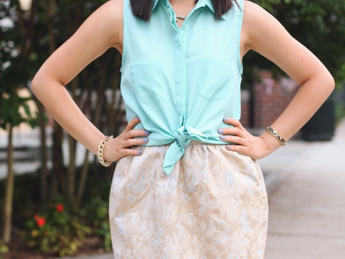 Skirt The Rules Blog; NYC fashion blogger; style blog; summer outfit photo; Tobi mint green sleeveless button up top; Forever 21 gold jacquard skirt; Sequin pave branch necklace; Brighthouse Baubles bracelet; Michael Kors white leather straw clutch; ShoeMint Elizabeth nude lace up heels