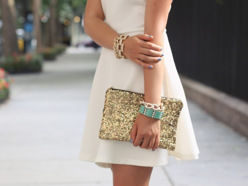 Skirt The Rules Blog; NYC fashion blogger; style blog; summer outfit photos; Lulu*s Go With The Bow Little White Dress; Hello Fab Gold Glam Sequin Clutch; J.Crew Pave Square Link Bracelet; Derng Rose Gold Chain Bracelet; Brighthouse Baubles Chain Bracelet; Zara Neon Snakeskin Heels