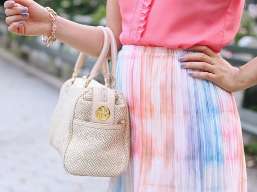 Skirt The Rules Blog; NYC fashion blogger; style blog; summer outfit photos; J.Crew Factory coral sleeveless blouse; Gentle Fawn Society pastel pleated skirt; Tory Burch straw summer satchel bag; C. Wonder crystal necklace; Derng rosegold pave link bracelet; Zara white nude colorblock heels