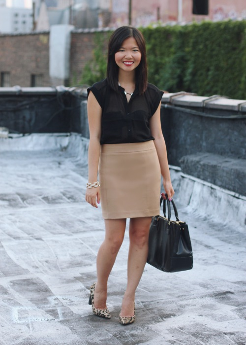Skirt The Rules Blog; NYC fashion blogger; style blog; fall outfit photo; Gentle Fawn Germain black sheer top; Express camel mini skirt; BaubleBar bronze geometric necklace; J.Crew square pave link bracelet; Tory Burch Robinson black satchel bag; Diane Von Furstenberg DVF April leopard calf hair pump