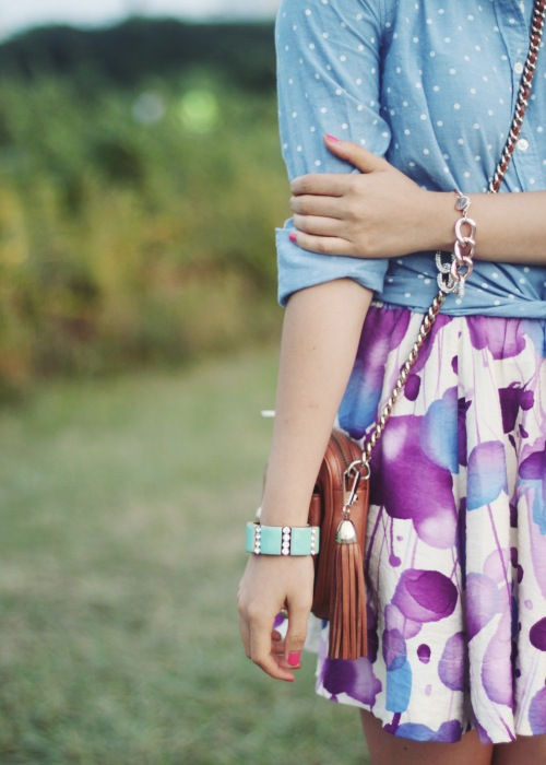 Skirt The Rules Blog; NYC fashion blogger; style blog; summer outfit photos; J.Crew chambray polka dot button up shirt; Forever 21 watercolor floral skirt; J.Crew turquoise stretch bracelet; Derng rosegold pave link bracelet; Rebecca Minkoff BF crossbody bag; Zara nude and white colorblock basic heel