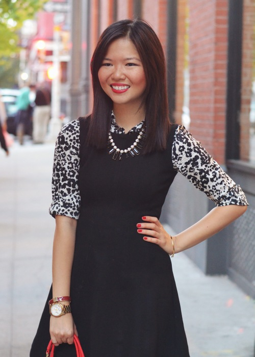 Skirt The Rules Blog; NYC fashion blogger; how to style a little black dress; how to wear a shirt under a dress; Zara black a-line skater skirt; J.Crew black and white snow leopard button up shirt; T&J Designs black statement necklace; Lipstick Rose Red Riding oxblood bangle bracelet; Michael Kors gold mother of pearl face boyfriend watch; Pour La Victoire Mai black patent wedge pumps; Olivia & Joy Rockefeller red satchel