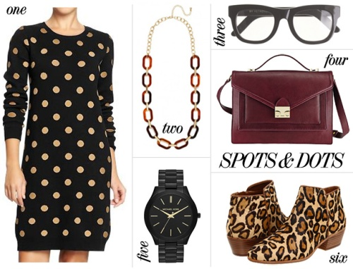 Skirt The Rules Blog; NYC fashion blogger; style blog; fall outfit collage; how to wear polka dot and leopard; Old Navy Women's Crew Neck Polka Dot Sweater Dress; BaubleBar Tortoise Oval Link Strand; Super for J.Crew Ciccio black thick rimmed eyeglasses; Loeffler Randall Ryder oxblood and gold satchel; Michael Kors Slim Runway black and gold watch; Sam Edelman Petty leopard booties